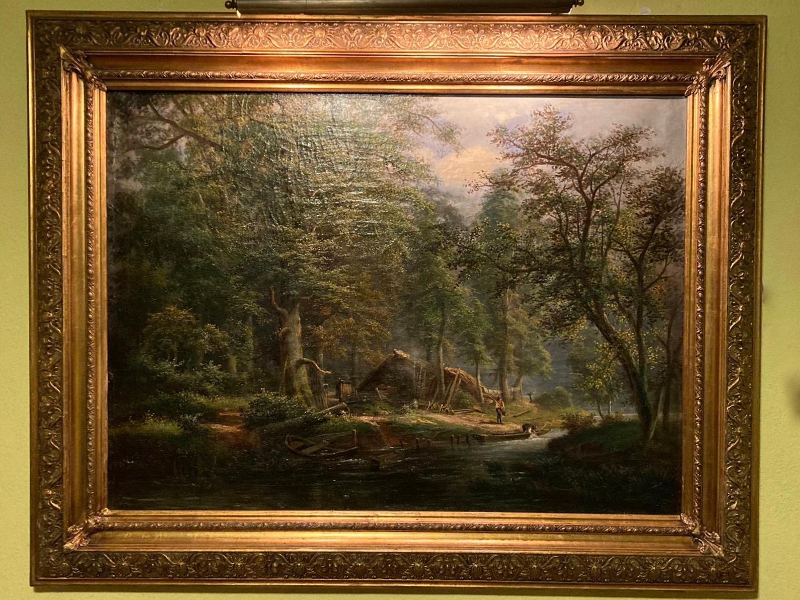 Romantische Flußlandschaft um 1850